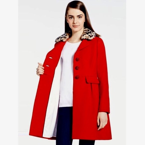 9391db975 Kate Spade Red Wool Leopard Collar New York Coat